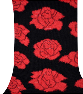 جوراب ساق دار هپی و مپی طرح گل رز مشکی