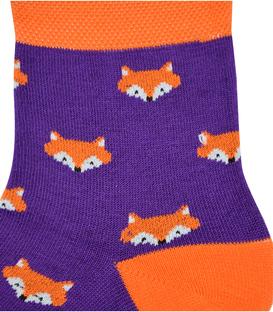 جوراب نیم ساق نانو پاآرا طرح روباه بنفش