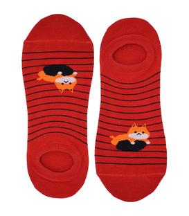 جوراب قوزکی نانو پاآرا طرح گربه تنبل قرمز