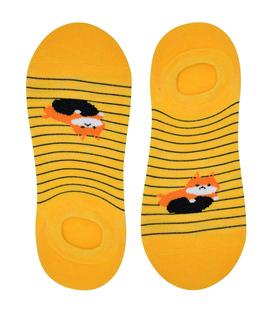 جوراب قوزکی نانو پاآرا طرح گربه تنبل زرد