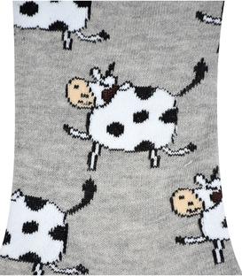 جوراب ساق دار بوم طرح گاو خاکستری