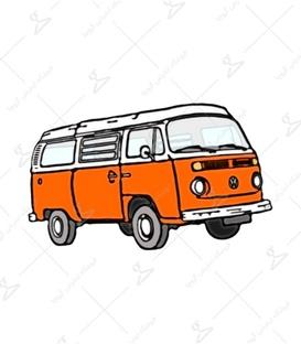 استیکر LooLoo طرح فولکس واگن نارنجی