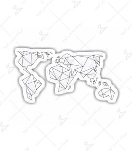 استیکر LooLoo طرح نقشه هندسی جهان