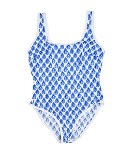مایو یک تکه زنانه طرح برگ آبی کد 209