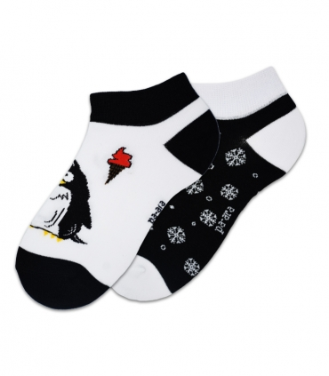 جوراب مچی لنگه به لنگه نانو پاآرا طرح پنگوئن و برف