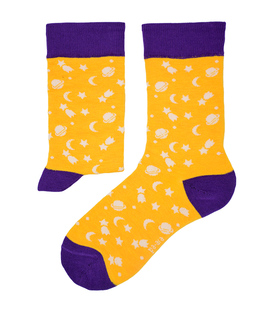 جوراب نانو ساق دار پاآرا طرح ماه و ستاره زرد