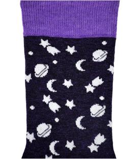 جوراب نانو ساق دار پاآرا طرح ماه و ستاره بنفش تیره