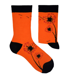 جوراب نانو ساق دار پاآرا طرح قاصدک نارنجی