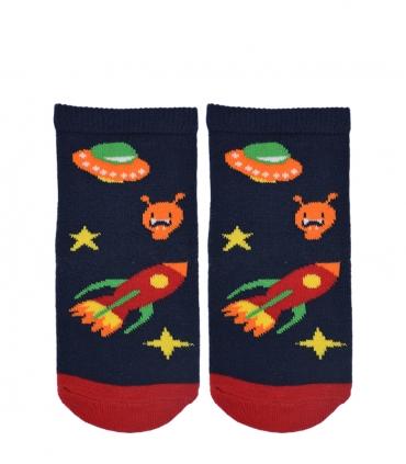 جوراب بچگانه طرح سفینه فضایی سرمهای