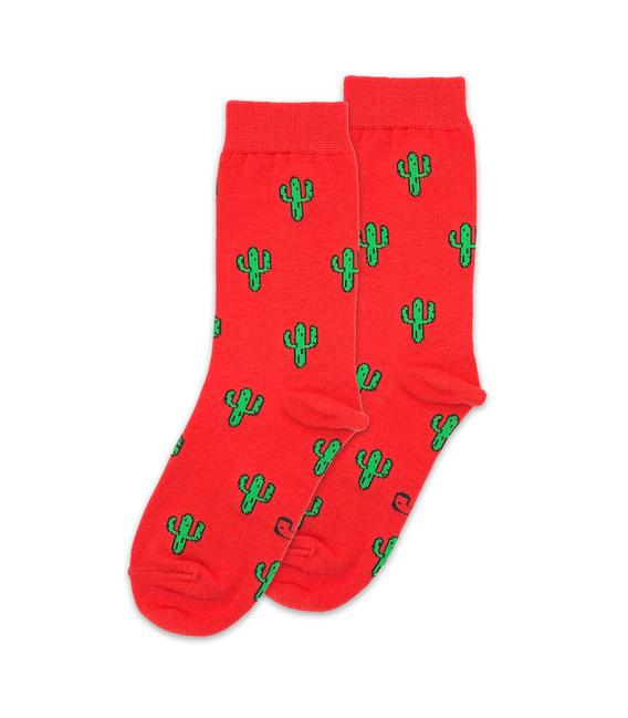 جوراب ساق دار نانو پاتریس طرح کاکتوس قرمز