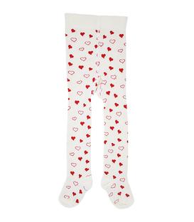 جوراب شلواری بچگانه Charanga طرح قلبی شیری