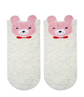 جوراب بچگانه قوزکی گوشدار طرح خرس کرم