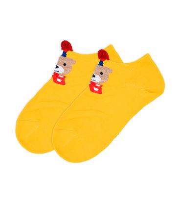 جوراب بچگانه قوزکی گوشدار طرح خرس خردلی
