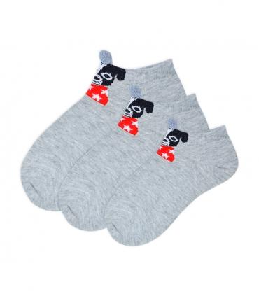جوراب بچگانه قوزکی گوشدار طرح سگ خاکستری