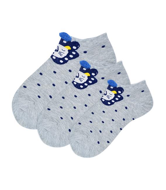 جوراب بچگانه قوزکی گوشدار طرح شیر خاکستری