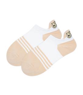 جوراب قوزکی طرح پو سفید خاکی