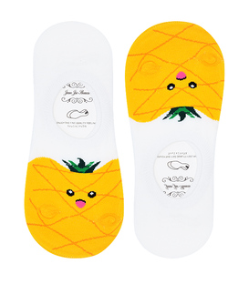 جوراب قوزکی طرح آناناس سفید