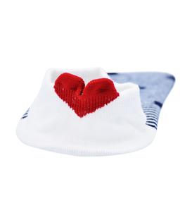 جوراب مچی پشت قلب دار طرح راه راه قلبی سفید