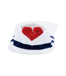 جوراب مچی پشت قلب دار طرح دو خط سفید