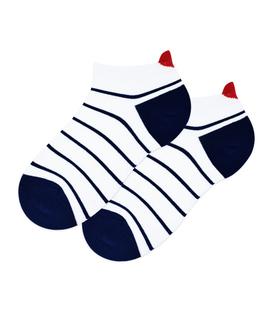 جوراب مچی پشت قلب دار طرح راه راه باریک سفید