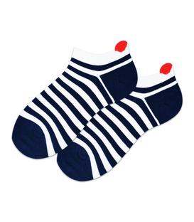 جوراب بچگانه مچی پشت قلب دار طرح راه راه سرمهای