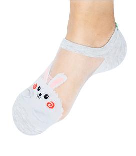 جوراب توری قوزکی طرح خرگوش خاکستری