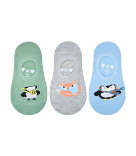 پک جوراب بچگانه قوزکی کف استپدار طرح پنگوئن و روباه - سه جفت