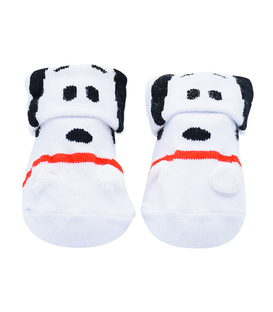 جوراب بچگانه لبه برگردان طرح سگ سفید