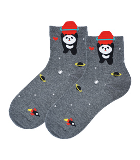 جوراب نیم ساق Coco & Hana طرح پاندا فضانورد خاکستری