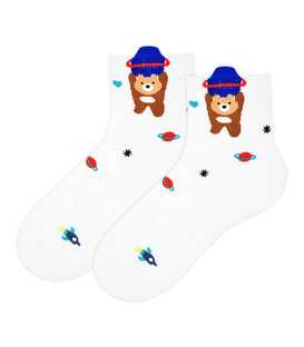جوراب نیم ساق Coco & Hana طرح خرس فضانوردشیری