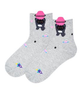 جوراب نیم ساق Coco & Hana طرح گربه فضانورد خاکستری