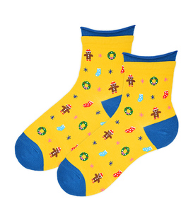 جوراب نیم ساق Coco & Hana طرح زمستون زرد