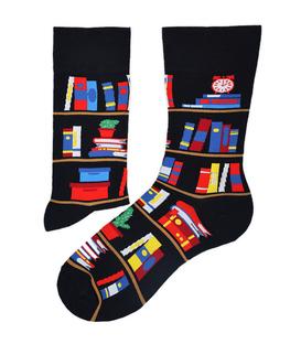 جوراب ساق دار طرح کتابخونه مشکی