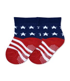 جوراب بچگانه کف استپدار طرح خط و ستاره