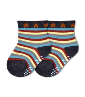 جوراب بچگانه کف استپدار طرح راه راه و ستاره