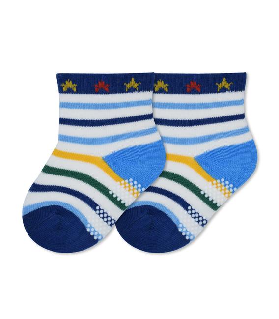 جوراب بچگانه کف استپدار طرح راه راه و ستاره سفید