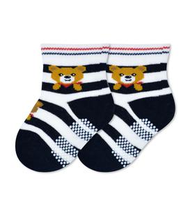 جوراب بچگانه کف استپدار طرح خرس راه راه