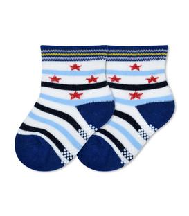 جوراب بچگانه کف استپدار طرح راه راه و ستاره سفید مشکی