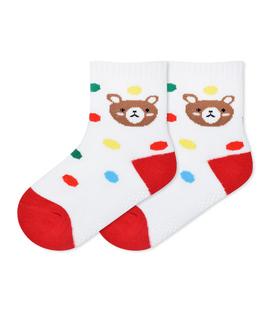 جوراب بچگانه کف استپدار طرح خرس خال خالی سفید