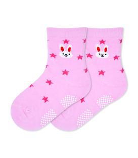 جوراب بچگانه کف استپدار طرح خرگوش و ستاره صورتی
