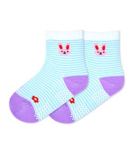 جوراب بچگانه کف استپدار طرح خرگوش راه راه سفید آبی
