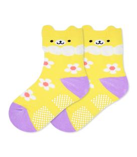 جوراب بچگانه کف استپدار گوشدار طرح خرس زرد