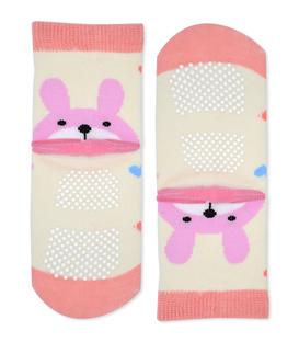 جوراب بچگانه کف استپدار طرح خرگوش و قلب شیری