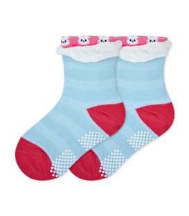 جوراب بچگانه کف استپدار لبه برگردان طرح خرگوش آبی