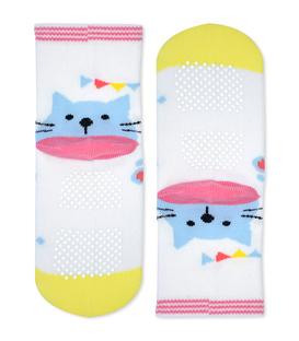 جوراب بچگانه کف استپدار طرح گربه سفید