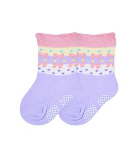 جوراب بچگانه کف استپدار طرح پاپیون بنفش