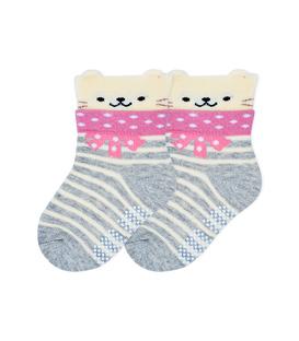 جوراب بچگانه کف استپدار گوشدار طرح خرس راه راه خاکستری