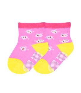جوراب بچگانه کف استپدار طرح خرگوش صورتی