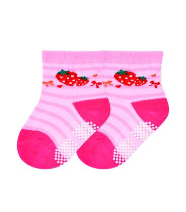 جوراب بچگانه کف استپدار طرح توت فرنگی صورتی