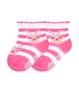 جوراب بچگانه کف استپدار طرح خرگوش خوشحال صورتی